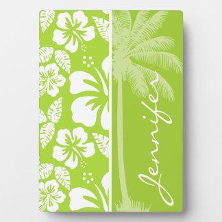 シトロンの緑の熱帯ハイビスカス; 夏のやし フォトプラーク
