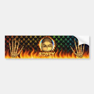 シドニーのスカルの実質火および炎のバンパーステッカーd バンパーステッカー