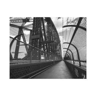 シドニーのハーバーブリッジの黒く及び白いイメージ キャンバスプリント