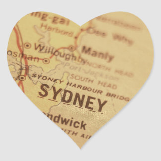 シドニーのヴィンテージの地図 ハートシール