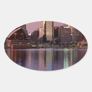 シドニーの美しいスカイライン 楕円形シール