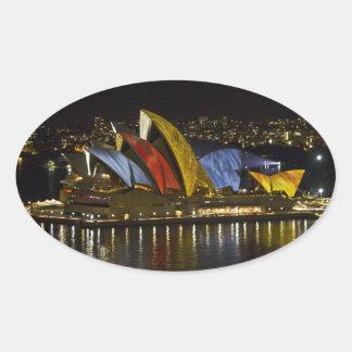シドニーオペラ家のシドニーの鮮やかなフェスティバル-色 楕円形シール