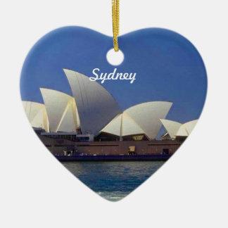 シドニーオーストラリア旅行ハートのクリスマスのオーナメント 陶器製ハート型オーナメント