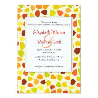 シナノキの秋の結婚式招待状 カード