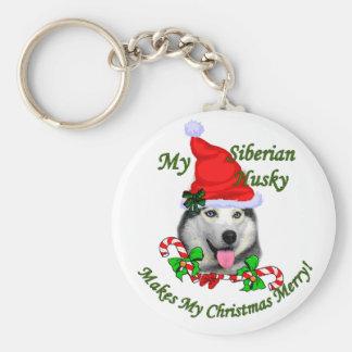シベリアンハスキーのクリスマスのギフト キーホルダー