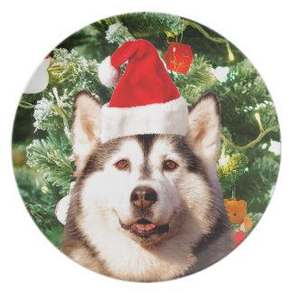 シベリアンハスキーのクリスマスツリーは雪だるまを飾ります プレート