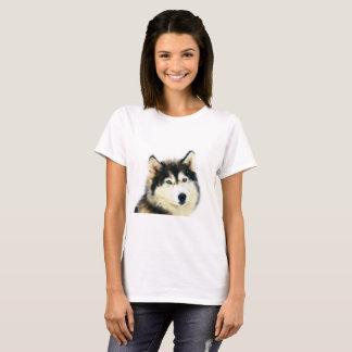 シベリアンハスキーの女性のTシャツ Tシャツ