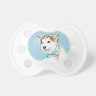 シベリアンハスキーの子犬の絵画-元の犬の芸術 おしゃぶり