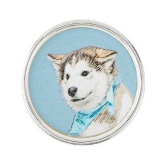 シベリアンハスキーの子犬の絵画-元の犬の芸術 ラペルピン