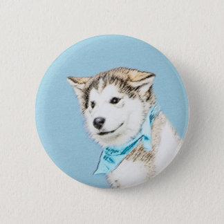 シベリアンハスキーの子犬の絵画-元の犬の芸術 缶バッジ