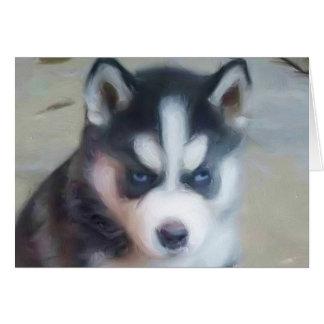 シベリアンハスキーの子犬の芸術 カード
