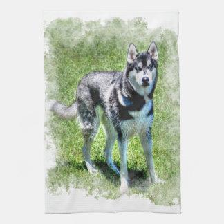 シベリアンハスキーの犬恋人のペットギフトシリーズ キッチンタオル