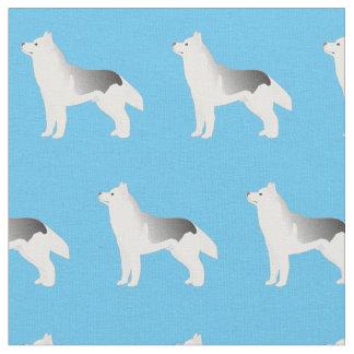 シベリアンハスキー犬のシルエットは生地をタイルを張りました ファブリック