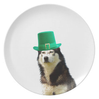 シベリアンハスキー犬のセントパトリックの日 プレート