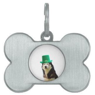 シベリアンハスキー犬のセントパトリックの日 ペットネームタグ