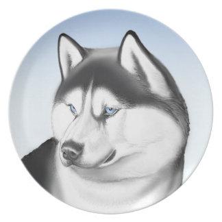 シベリアンハスキー犬のプレート プレート