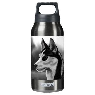 シベリアンハスキー犬のポートレートのデジタル芸術 断熱ウォーターボトル