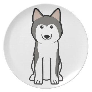 シベリアンハスキー犬の漫画 プレート