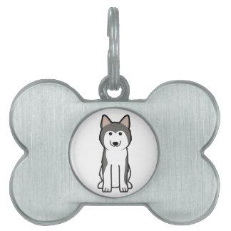 シベリアンハスキー犬の漫画 ペットネームタグ