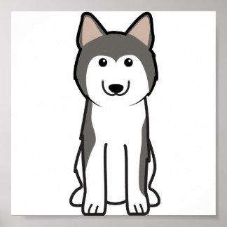 シベリアンハスキー犬の漫画 ポスター