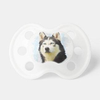 シベリアンハスキー犬水色の芸術の絵画 おしゃぶり