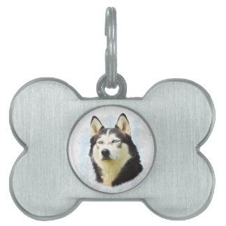 シベリアンハスキー犬水色の芸術の絵画 ペットネームタグ