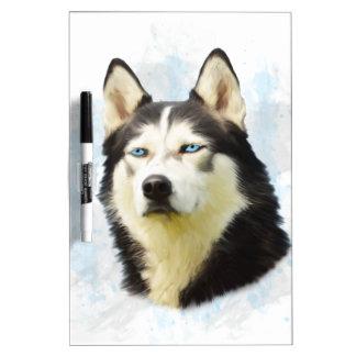 シベリアンハスキー犬水色の芸術の絵画 ホワイトボード