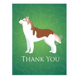 シベリアンハスキー-デザインありがとう赤 ポストカード