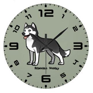 シベリアンハスキー ラージ壁時計