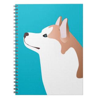 シベリアンハスキー-赤品種テンプレートのデザイン ノートブック