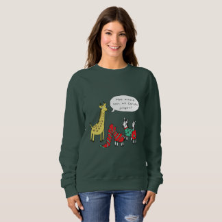 シマウマおよびキリンのクリスマスのジャンパー|のクラシックな漫画 スウェットシャツ