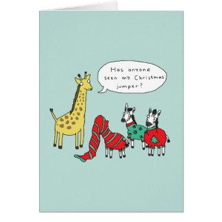 シマウマおよびキリンのクリスマスカード|のクラシックな漫画 カード