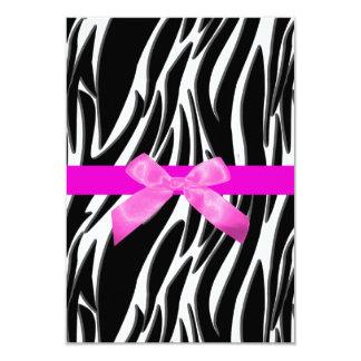 シマウマのイベントの招待状のピンク カード