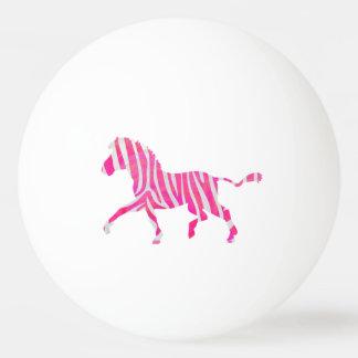 シマウマのショッキングピンクおよび白いシルエット 卓球ボール