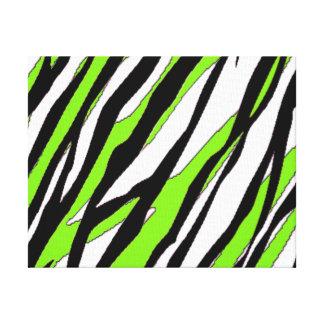 シマウマのストライプなライムグリーン キャンバスプリント