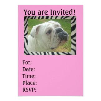 シマウマのストライプな英国のブルドッグのパーティの招待状 カード