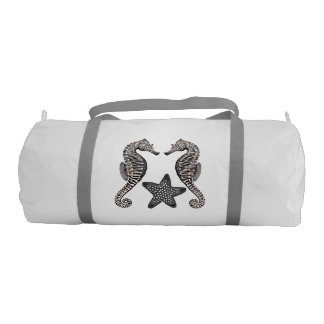 シマウマのタツノオトシゴのヒトデの体育館のダッフルバッグ ジムバッグ