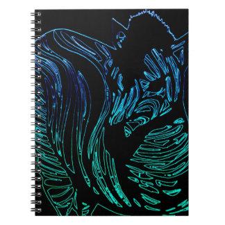 シマウマのノート、黒いネオン緑およびターコイズ ノートブック