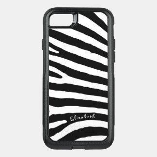 シマウマのパターン、黒い及び白のストライプ、あなたの名前 オッターボックスコミューターiPhone 8/7ケース