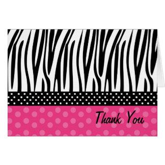 シマウマのプリントのショッキングピンクの水玉模様はメッセージカード感謝していしています カード