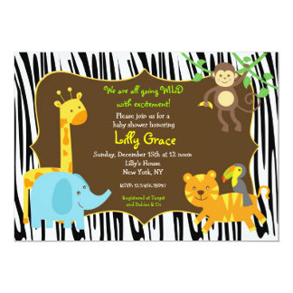 シマウマのプリントのジャングルサファリの動物のベビーシャワー カード