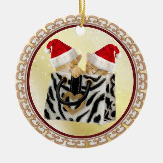 シマウマのプリントのハンドバッグのオーナメントのクリスマスの子ネコ セラミックオーナメント