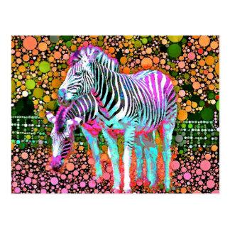 シマウマのポップアートの郵便はがき ポストカード