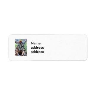 シマウマのポートレートの差出人住所Lables ラベル