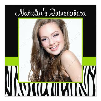 シマウマのライムグリーンの写真のキンセアニェラの招待状 カード