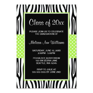 シマウマのライムグリーンの水玉模様の卒業の発表 カード