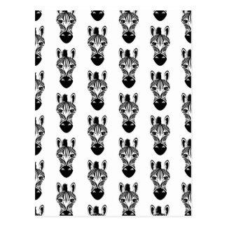 シマウマの白黒パターン ポストカード