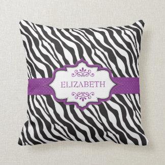 シマウマの紫色のリボンのMoJoの枕 クッション