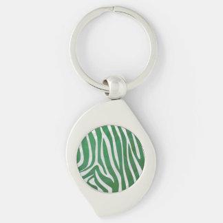 シマウマの緑および白写真 キーホルダー