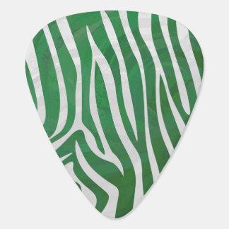 シマウマの緑および白写真 ギターピック